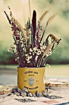 wild flower centerpiece - cookie jar holder