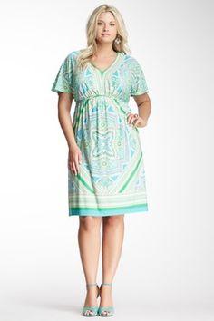 Short Sleeve Printed V-Neck Empire Dress.  Cute for Krista