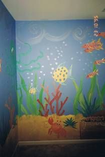 Under The Sea Treasures Handpainted Wall Mural