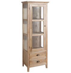 Vitrina en Madera Teka Natural 1 Puerta 39 x 59 x 180,5 cm Crockery Cabinet, Wooden Projects, Cupboard Storage, Dinning Table, Wood Design, Wood Furniture, Coffee Shop, Sweet Home, Shabby Chic