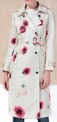 Poppy Print Trench Coat
