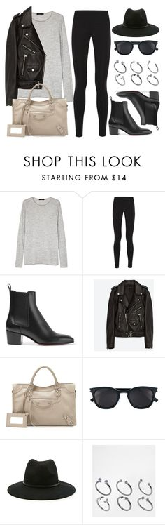 """Style #11433"" by vany-alvarado ❤ liked on Polyvore featuring The Row, Balenciaga, Christian Louboutin, Jakke, Yves Saint Laurent, Forever 21 and ASOS"