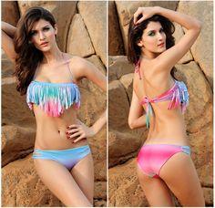 "Rainbow Sexy Tassel Bikini .Summer Wear ""Rainbow"",Hot In the social ! To Get a Rainbow at : mshoco.com"