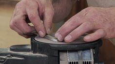 George Vondriska demonstrates why you might consider using a foot pedal to control your power sharpener when power lapping a bench chisel. Because you want the chisel flat against the surface of the sharpener to get an even grind, you'll need to use both hands to guarantee that it doesn't wobble.