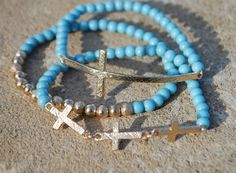 Side Cross Turquoise Bracelet Set of 3 by StringofLove on Etsy, $15.00