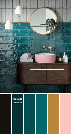 Emerald Green and Pink Color Scheme for Bathroom - - Create a restful ocean at home with these color palette deep green ocean + emerald green color combos with pink and gold accents. These color combos will. Color Schemes Colour Palettes, Color Combos, Home Color Schemes, Ocean Color Palette, Interior Design Color Schemes, House Color Palettes, Green Color Schemes, Design Palette, Ocean Colors