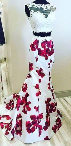 nice mermaid prom dresses, 2 piece homecoming dresses, floral homecoming dresses, 201...