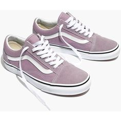 MADEWELL Vans® Unisex Old Skool Lace-Up Sneakers in Sea Fog (799.080 IDR) ❤ liked on Polyvore featuring shoes, sneakers, sea fog, canvas lace up sneakers, canvas high tops, laced up shoes, lace up shoes and lavender shoes