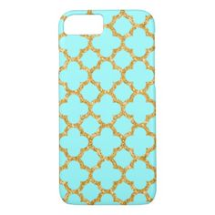 Modern Faux Gold Glitter Mosaic Quatrefoil Pattern iPhone 8/7 Case - trendy gifts cool gift ideas customize