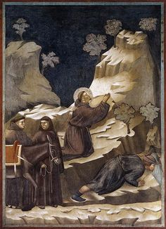 Giotto, St Francis, Miracle of the Spring 1297-1300 Fresco,  Upper Church, San Francesco, Assisi