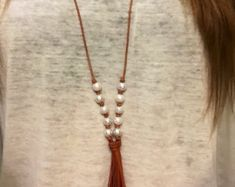 Leather and pearl tassel long necklace