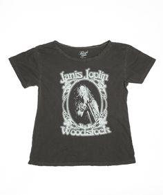 Janis Joplin Live at Woodstock Boyfriend Tee - Vintage Black