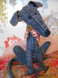 Fabric Toys, Fabric Art, Fabric Crafts, Bird Fabric, Sewing Toys, Sewing Crafts, Sewing Projects, Jean Crafts, Denim Crafts