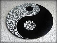 Round Yin Yang painting, made to order dot painting, dot art Dot Art Painting, Mandala Painting, Mandala Drawing, Arte Yin Yang, Yin Yang Art, Cd Wall Art, Cd Art, Jing Y Jang, Yen Yang