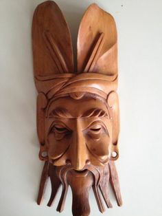 Beautiful Carved Wooden Balinese Mask from Indonesia Decorative Mask Bali | eBay