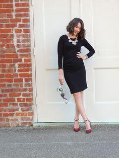 Little Black Dress LBD | Sparkly Statement Necklace | Burgundy Heels  #ThisisStyle #cbias #shop