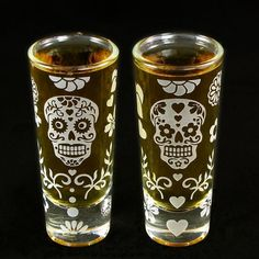 2 Sugar Skull Shot Glasses, Dia De Los Muertos Wedding Glasses, Holloween Wedding by bradgoodell, $38.00 USD