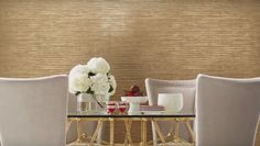"""Terra Nova"" - Dazzling Dimensions #york #wallcovering #wallpaper #new #gold #home #decor #diningroom #project #design #project #westchester #wallauer"