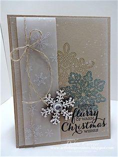 ARTfelt Impressions: Flurry Crumb Christmas Cards 2017, Noel Christmas, Christmas Greetings, Homemade Christmas Cards, Christmas Snowflakes, Stampin Up Christmas, Xmas Cards, Holiday Cards, Winter Christmas