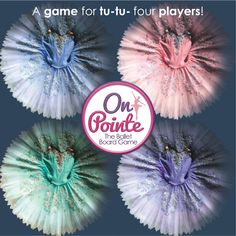 On Pointe is a ballet board game for tu-to-four players! Be the first finish dance class, join in rehearsals, head on stage and become Prima to win.  Find out more at onpointegame.com #tutu #tutuskirts #balletcostume #balletlife #costumes #dancergear #tabletopgames Dance Class Games, Ballet Costumes, Tabletop Games, Games For Girls, Tutu, Board Games, Dancer, Stage, Join