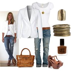 Super casual- white baby-t, jeans, brown handbag, brown leather belt with brown chunky pump, & gold accessories. Live the necklace.