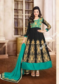 Product Name 2-1 Salwar And Lehenga Heavy Work Wedding Designer Collection - Turquoise, Black And Golden Resplendent Unique Designer Wear Salwar Convertible Lehenga / Party Wear / Wedding / Special Oc