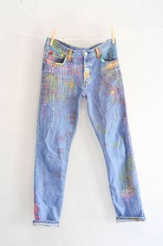 Levis 501, Levis Jeans, Patched Jeans, Boyfriend Jeans, Embellished Jeans, Embroidered Jeans, Vintage Jeans, Redone Jeans, Embroidery On Clothes