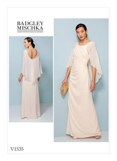 Badgley Mischka gown pattern for Vogue Patterns. V1535 MISSES' PLEATED AND RUCHED DRESS WITH ATTACHED CAPE