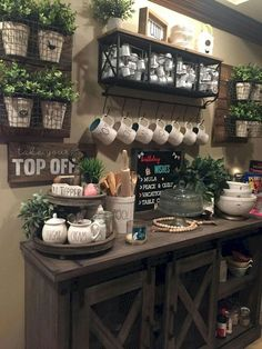 Coffee Bar Ideas - Looking for some coffee bar ideas? Here you'll find home coffee bar, DIY coffee bar, and kitchen coffee station. Decor, Bar Furniture, Farmhouse Decor, Coffee Bar Home, Cozy House, Kitchen Decor, Bars For Home, Diy Coffee Bar, Country Kitchen