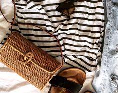 Audrey - Rectangle rotin panier sac, paille tissée ata herbe
