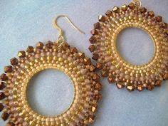Hoop Earrings BRONZE GODDESS II Multicolored Seed Bead Earrings via Etsy
