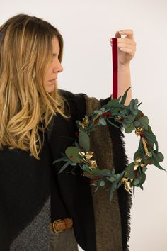 Boho Christmas wreath made of Eucaliptus and a gold touch!