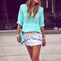 Hot? #mint #summer #skirts #belt #studs #bags #style #stylish #streetsyle #fashion - @fashsense- #webstagram