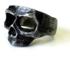 Oxidized Black Skull Mask Ring 925 Sterling Silver - Rings   RebelsMarket