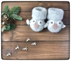 Owl Baby Booties Owl Baby Socks Animal Baby Socks by WOOLOKS