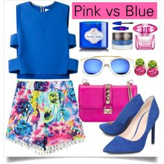 Pink Vs Blue by asteroid467 on Polyvore featuring мода, Novis, Nine West, Valentino, Revo, Laura Mercier, Maybelline and Versace