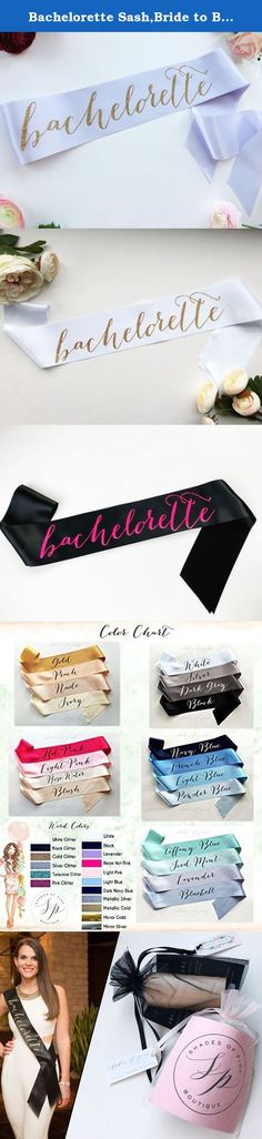 """Bachelorette Sash,Bride to Be Sash, Bridal Sash. """"bachelorette"""" sash - Comes rolled in a gift bag to give away, and to prevent wrinkles during shipment. - 3.5"""" wide double face satin sash. - Sash is approximately 70"""" long (one size fits most) - Open ended sash, Comes with an adhesive Velcro coin so you can customize the size of the sash as it hangs by your hip!."""