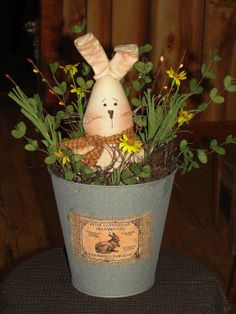 NEWBunny in Sap Bucket with Floral by WoodRufflesLacePrims on Etsy, $24.95