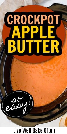 This Crockpot apple butter recipe comes together with just six ingredients and is very EASY to make! This Crockpot apple butter is great spread on some toast, English muffins, muffins, or eaten with a spoon. You can also spoon it atop yogurt, overnight oats, oatmeal, and more! It is like having a little bit of fall in your mouth! Homemade Desserts, Fun Desserts, Delicious Desserts, Dessert Recipes, Best Slow Cooker, Slow Cooker Recipes, Slower Cooker, 5 Ingredient Recipes, Breakfast Snacks
