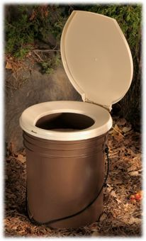 Luggable Loo Seat and Cover ... it's basically a 5 gallon bucket with a toilet seat attached to the top. You can put in these bags that come with special gel or use garbage bags and put some kitty litter in the bag. This makes a great portable toilet for those late night potty runs when camping.