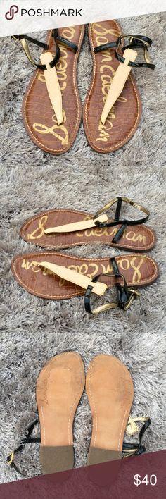 Sam Edelman Gigi Sandal - Snakeskin Classic Gigi Sandal by Sam Edelman Cream Snakeskin with Black Patent True to size Padded Adjustable ankle strap Like new, worn once Sam Edelman Shoes Sandals