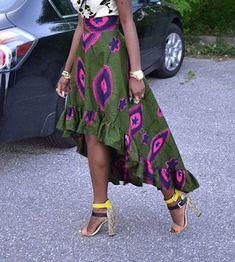 Ruffled Edge Ankara Skirt by Africandressshop on Etsy ~ African fashion, Ankara… African Print Skirt, African Print Dresses, African Print Fashion, Africa Fashion, African Fabric, African Dress, African Prints, African Attire, African Wear