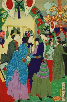 """於鹿鳴館貴婦人慈善会之図 Ladies' Charity Party at the Rokumeikan 揚洲周延 Yōshū Chikanobu This was a center of Westernizing Japan in the Meiji era, led by Yamakawa Sutematsu a/k/a Oyama Sutematsu, one of the women featured in """"Daughters of the Samurai,"""" Nimura. Era Meiji, Japan Painting, Steampunk Costume, Japanese Outfits, Japanese Prints, Japan Art, Victorian Fashion, Traditional Art, Art History"""