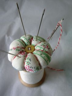 "Small Talk ..."" I made the world's tiniest pincushion"" .... DIY - follow link.... #pincushion #fabric #sewing"