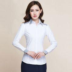 New Fashion Women Business Stripe Stitching Formal Shirt Blouse OL  Lady Work Wear Long-Sleeve Shirts Slim Tops