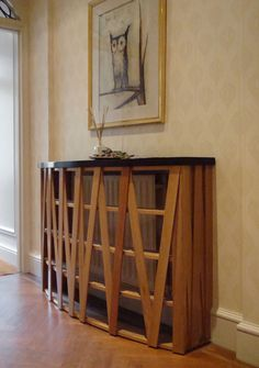 Radiator Cabinet, Oak Slats With Lacquered Top.