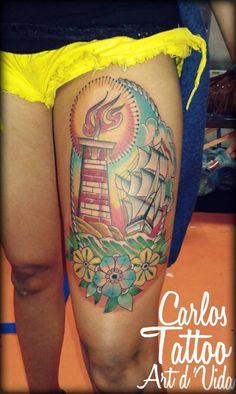 Tradicional por tatuador Carlos Paranagua.