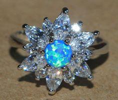 blue fire opal white topaz Cz ring gems silver jewelry Sz 7.25 modern cocktail X #Cocktail