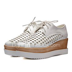 Women's Shoes Wedge Heel Round Toe Oxfords Office & Career/Dress Black/Pink/White/Silver/Gold 2017 - $27.99