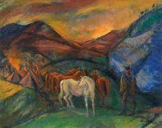 Márffy Ödön (1878-1959) Táborozás (Lovasok a völgyben), 1917 körül Olaj, vászon, 65x81 cm